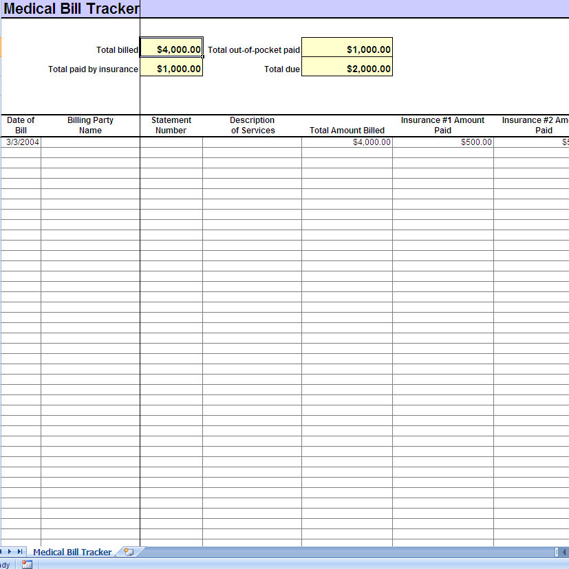 screenshot of the Medical Bill Tracker