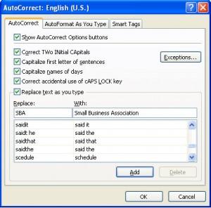 AutoCorrect Excel