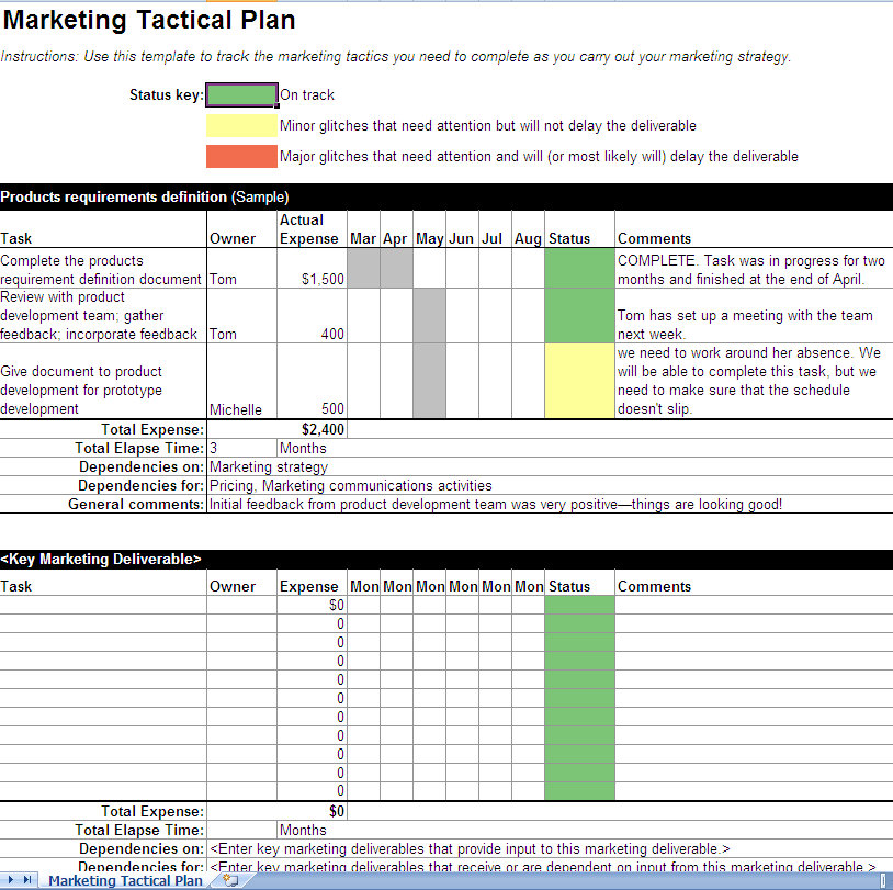 Marketing business plan example marketing plans marketing tactical business plan excel template flashek Image collections