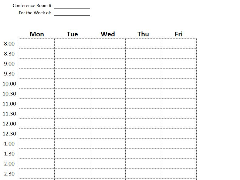 screenshot of the conference room scheduling template