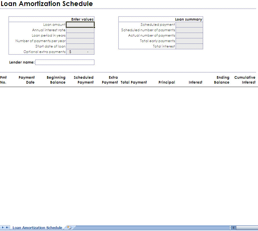 amortization schedule excel template