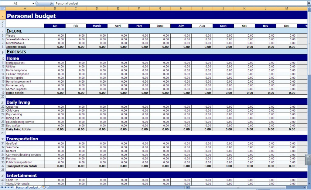 Personal Budget for Yearly and Monthly Budget Expenses Worksheet
