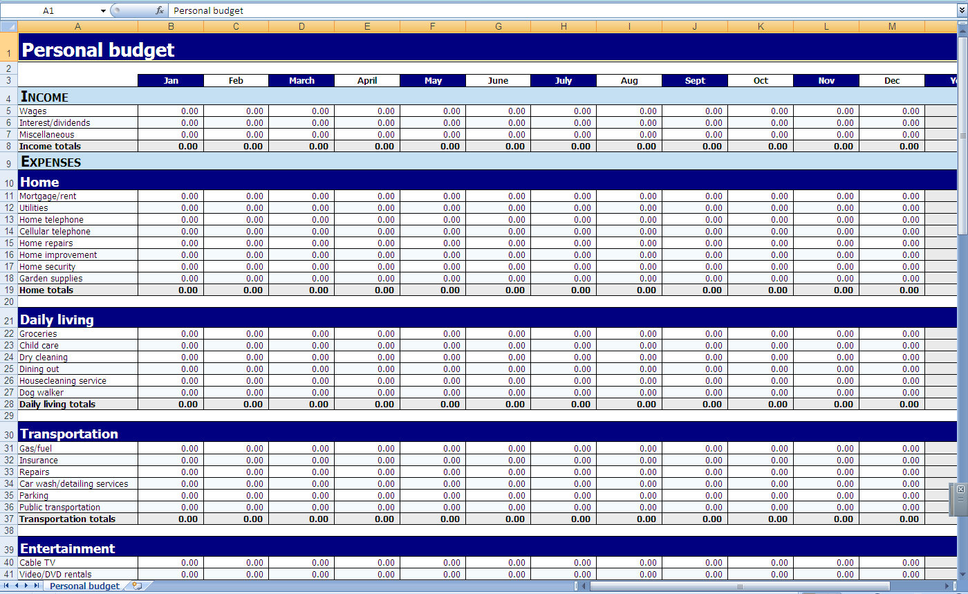 Monthly and Yearly Budget Spreadsheet Excel Template