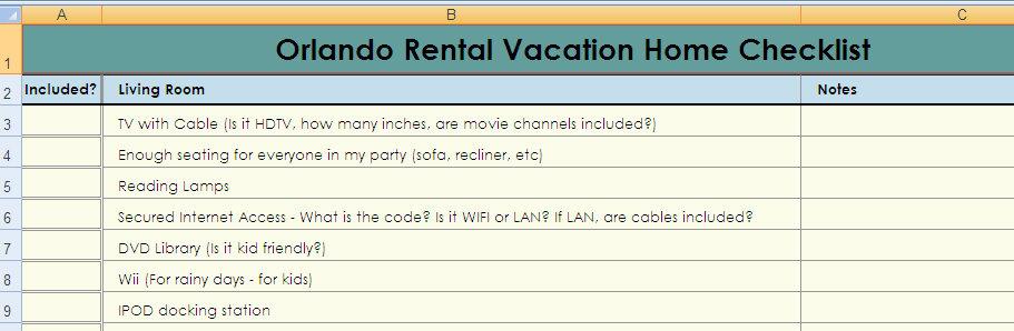 Vacation Rental Home Checklist | Disney Vacation Rental Checklist