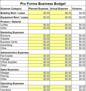 Free Pro Forma Business Budget Template