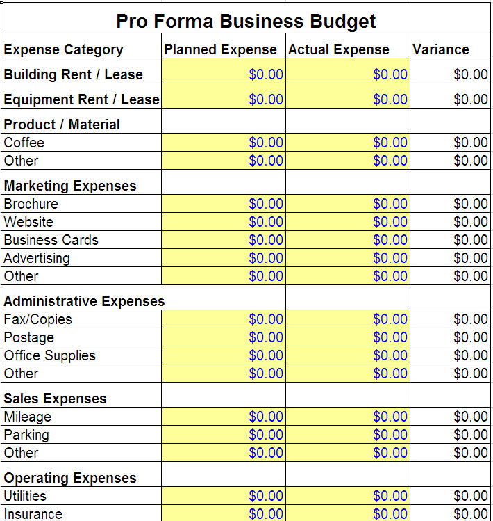 Business budget template pro forma budgetg flashek Image collections