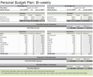 Free Biweekly Budget Excel Template