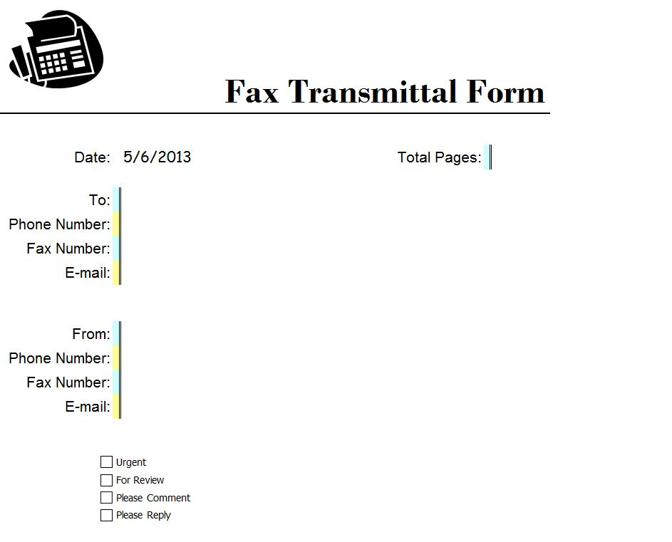Business Fax Cover Sheet Excel Template Screenshot