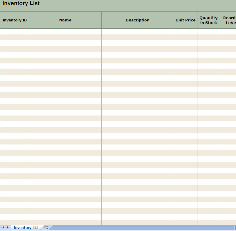 screenshot of the Inventory List Excel Spreadsheet