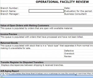 ERP Post Implementation Operational Review Screenshot