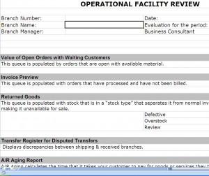ERP Post Implementation Operational Review Screenshot