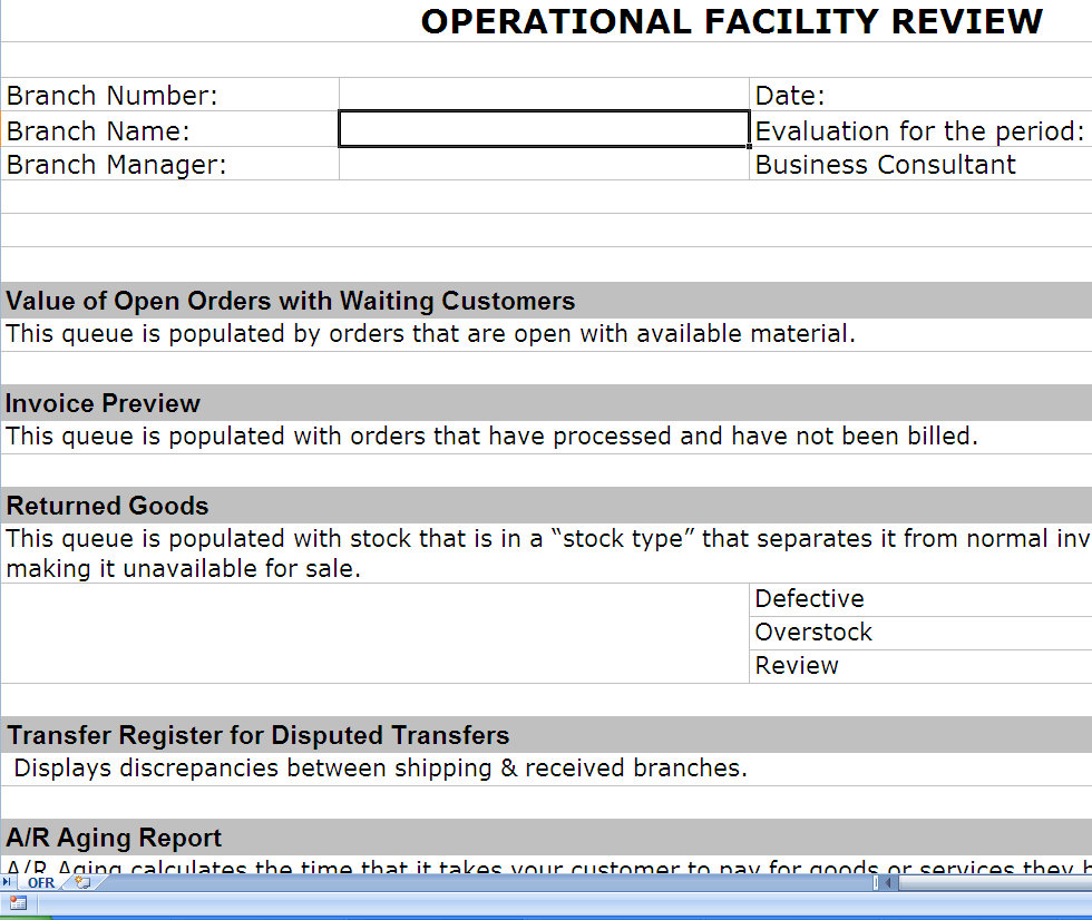 Operations review operational review post erp for Post implementation plan template
