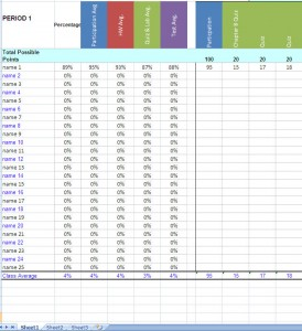 Teacher Grade Book Excel Template