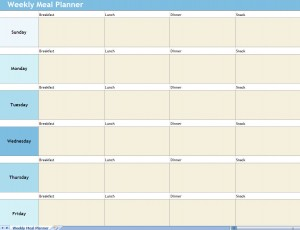 Screenshot of the Weekly Meal Planner Excel Template
