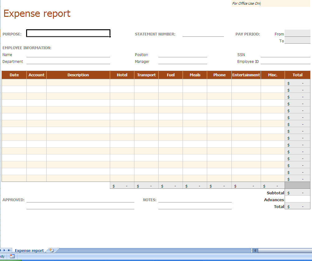 Free Expense Report Excel Template
