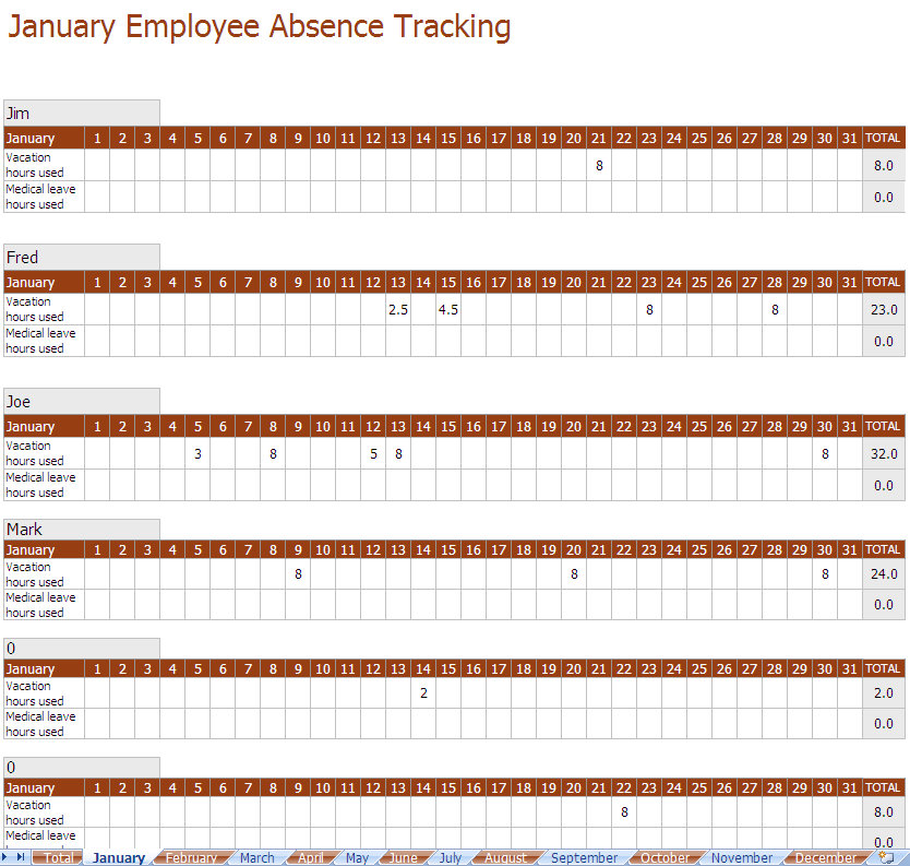 Screenshot of the Employee Absence Tracking Excel Template
