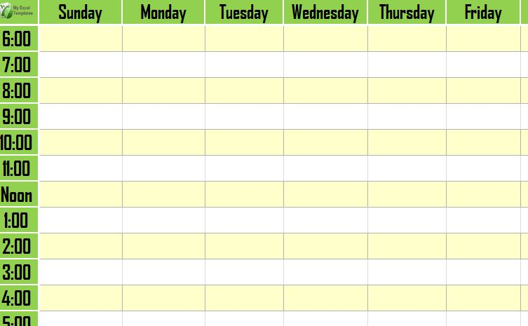 Weekly Schedule Template  Weekly Timetable Template