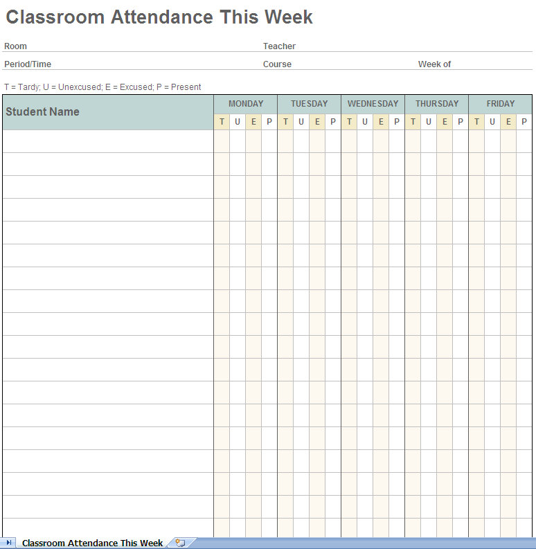 Weekly student attendance tracking excel template screenshot