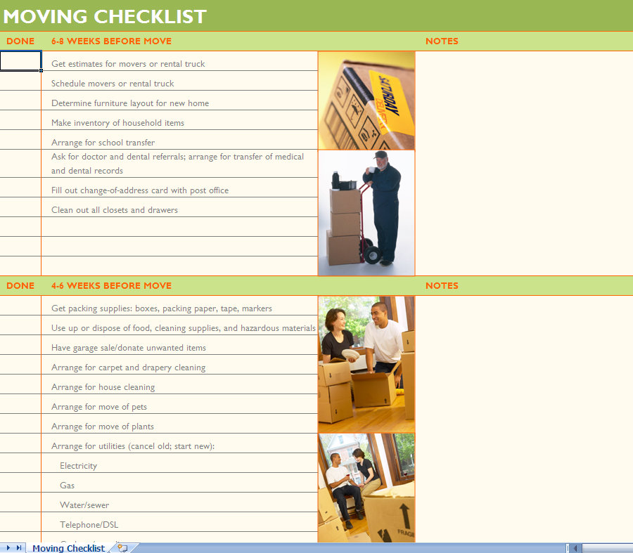 House Moving Checklist Excel Template | House Moving Checklist