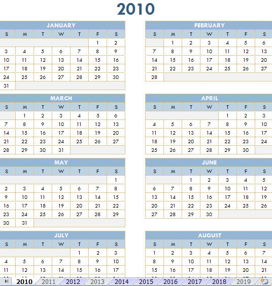 2010 – 2019 Printable Calendar | 2010-19 Printable Calendar