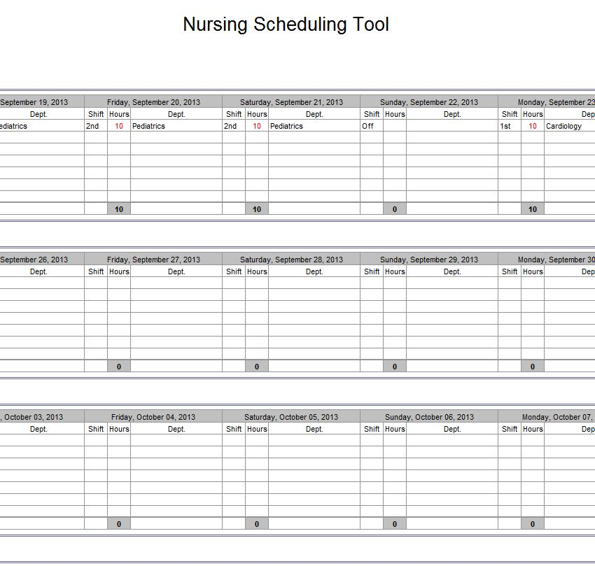 screenshot of the Hospital Nurse Schedule Excel Template