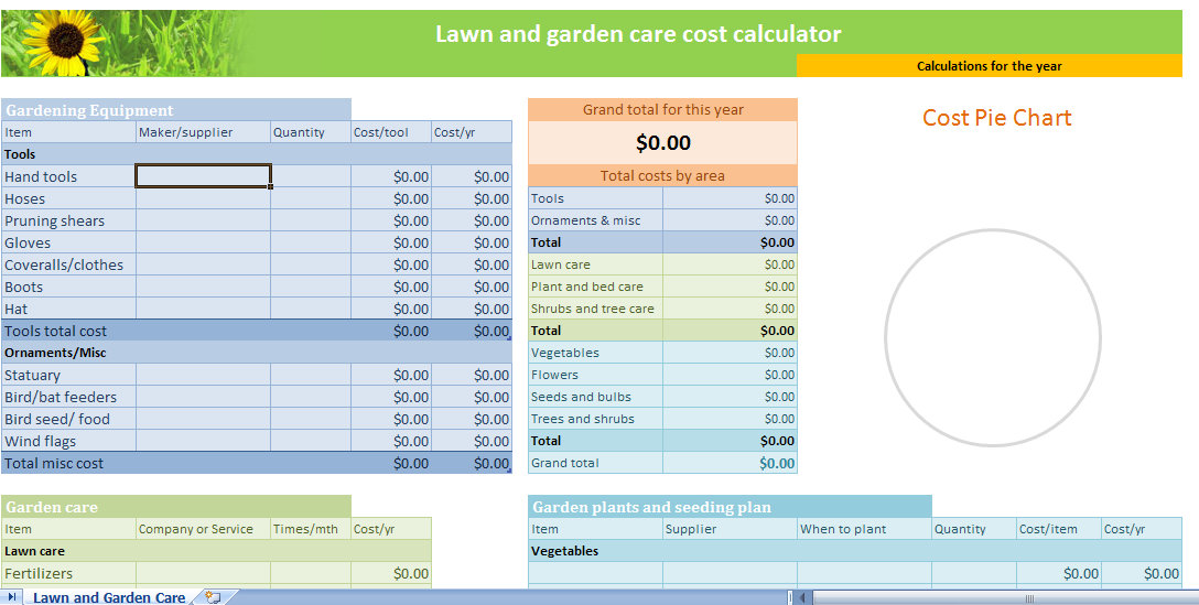 lawn and garden calculator template