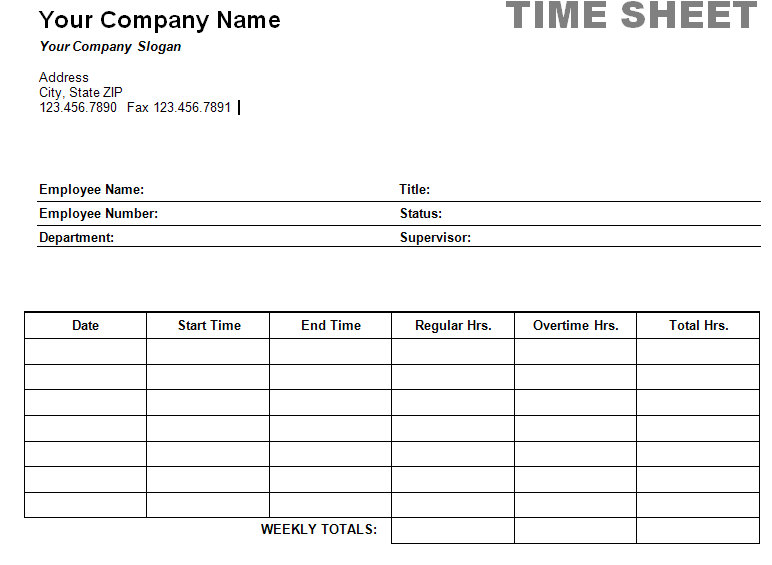 Printable Weekly Time Sheet | Timesheet Print