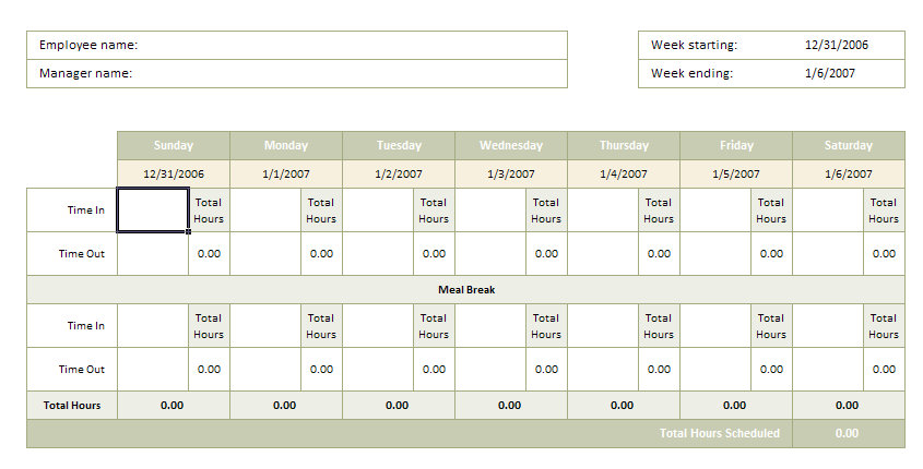 Volunteer time sheet template volunteer time sheet for Daily timesheet template excel 2010