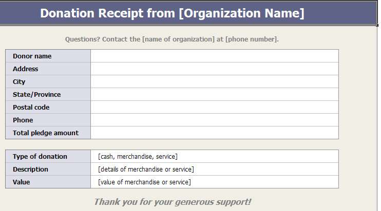 Charitable Donation Receipts Template | Donation Receipt