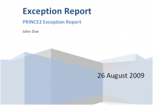 Prince2 Exception Report Template