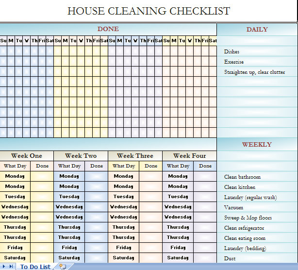 Checklist For House Cleaning | House Cleaning Checklists