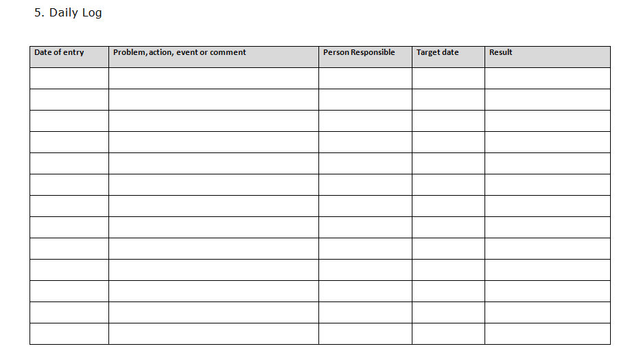 prince2 daily log template