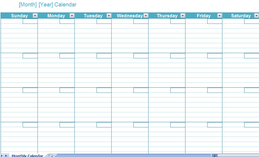 excel calender template