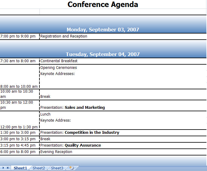 Conference Agenda Excel Template – Conference Agenda Sample