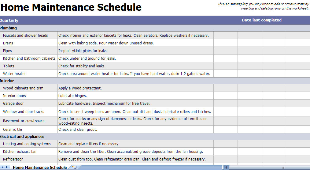 Home Maintenance Checklist Template