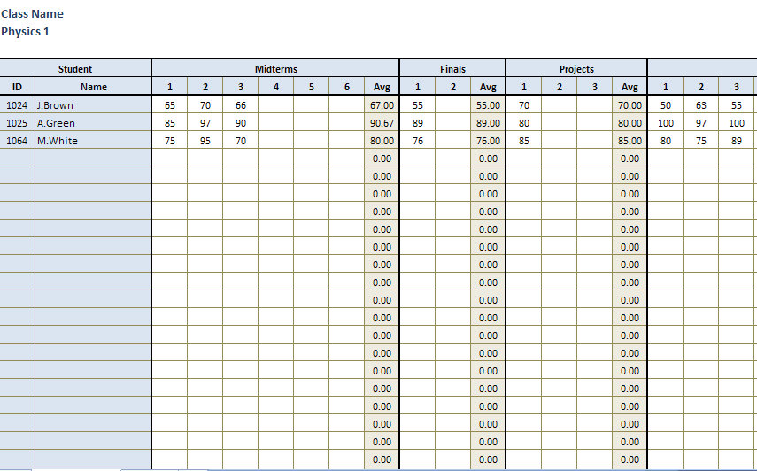 Teacher Grade Sheet | Teachers Grade Book