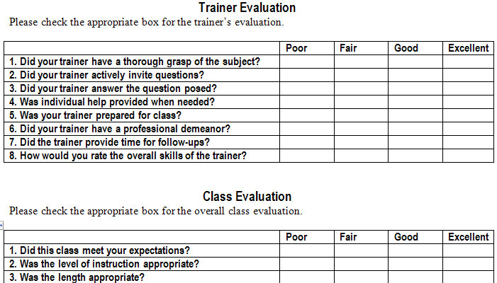 Training Evaluation Form Templaten screenshot