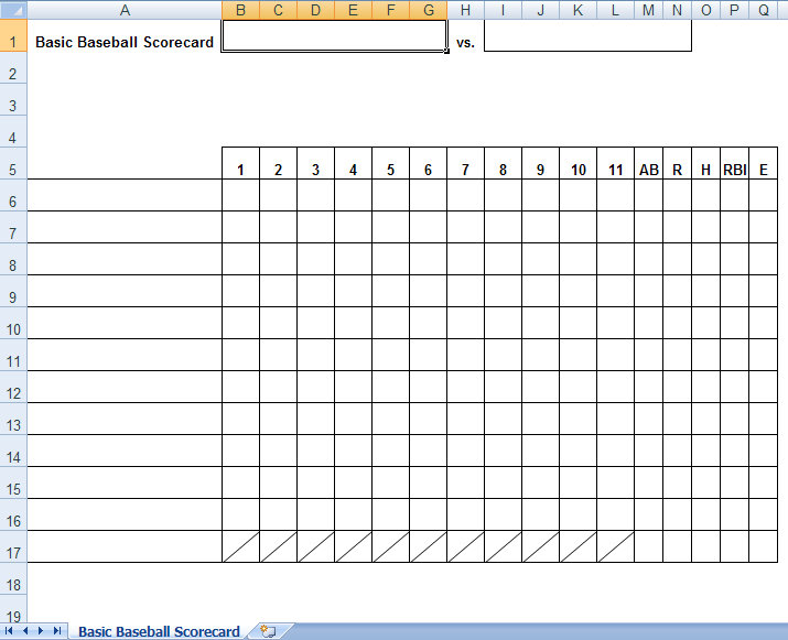 Baseball Box Scores Excel Template