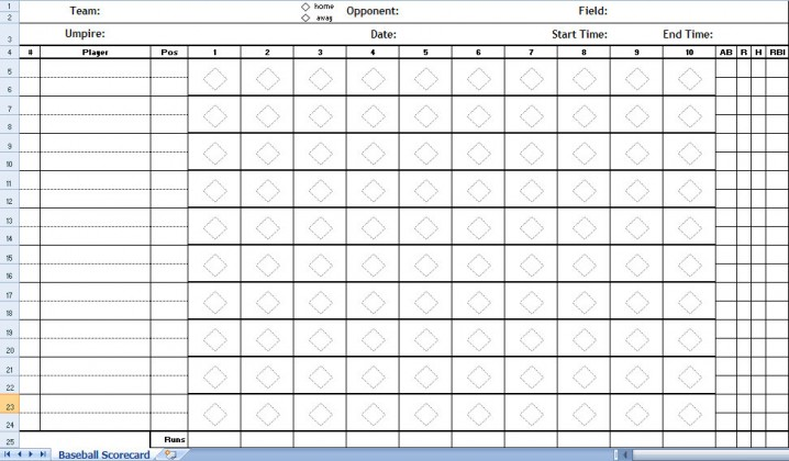 Baseball Score Sheet Excel Template | Baseball Score Sheets