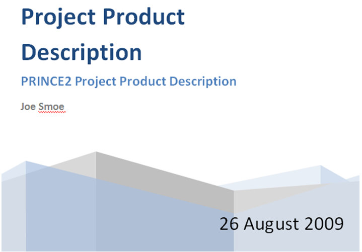Prince2 Project Product Description – Product Description Template