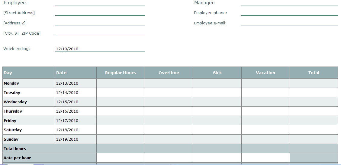 Blank Time Sheet Form  Employee Timesheet