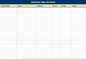 sign up sheets templates