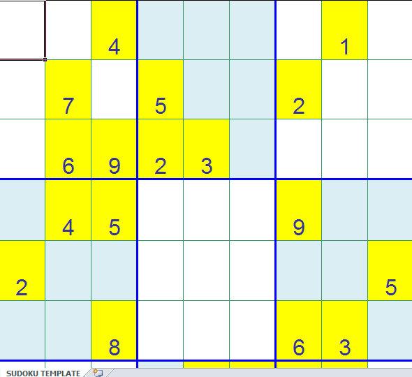 blank sudoku template excel