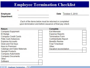Employee Termination Checklist Template  Employee Termination Template