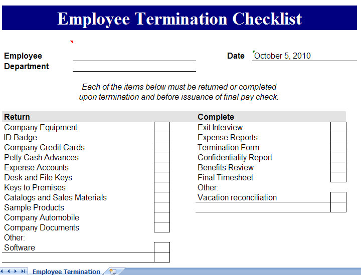 Employee Separation Checklist. Employee Data Sheet Table Personnel