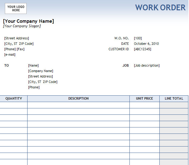 Work Order Form – Order Forms Templates Free