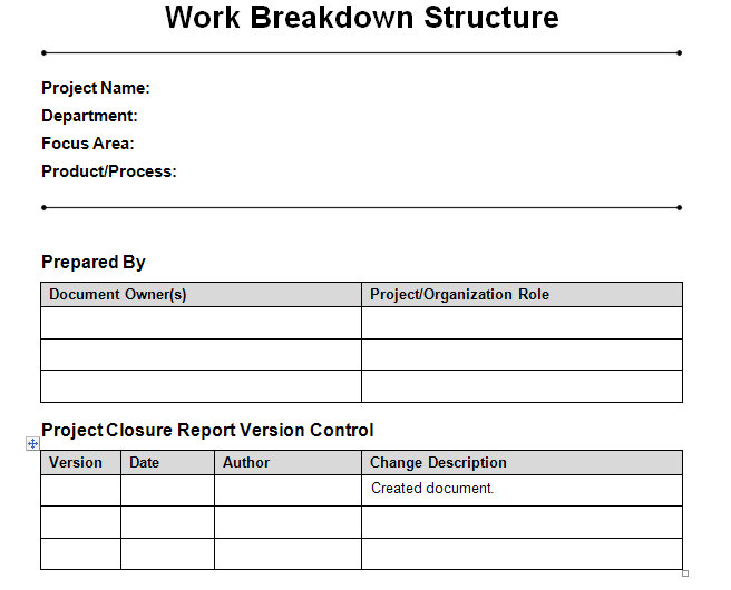 Work Breakdown Structure  Word Template  Work Breakdown Structure