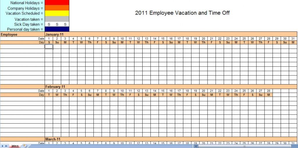 2011 employee vacation calendar
