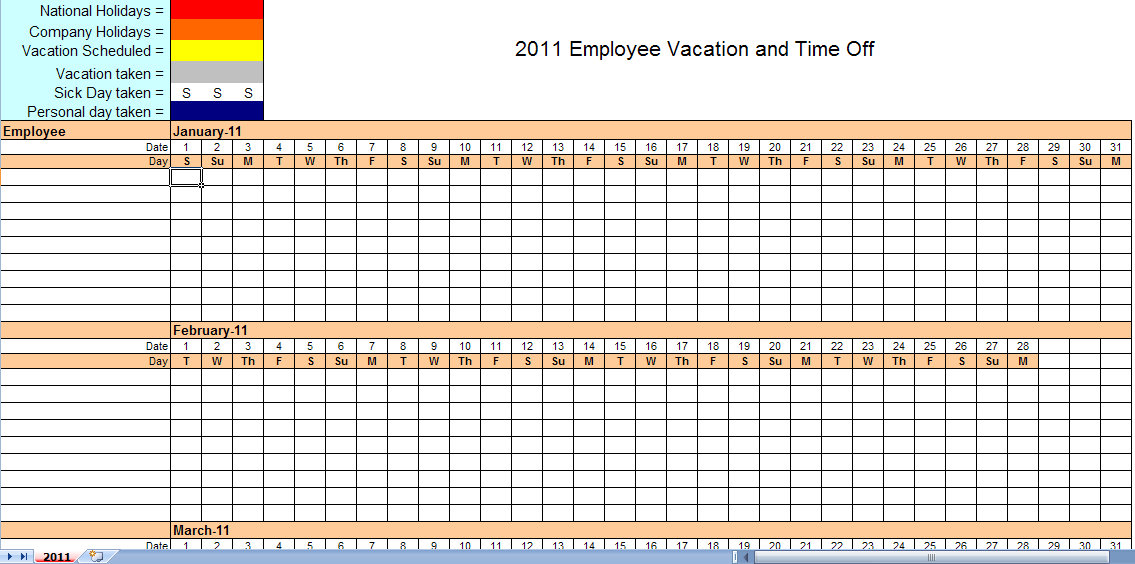2011 Employee Vacation Calendar | Vacation Calendar Template 2011