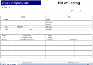 bill of lading form free